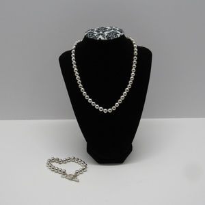Brooks Brothers Silver Bead Necklace and Bracelet